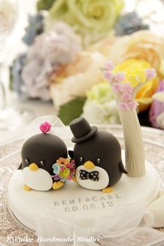 Penguins with flower tree Wedding Cake Topper. $140.00, via Etsy.