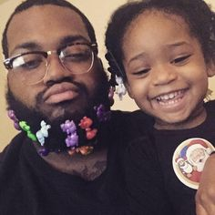 The barrettes in his beard literally have me in tears. This is the cutest and the best!!!