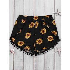 Simple Style Women's Sunflower Print Beach Shorts (15 CAD) ❤ liked on Polyvore featuring shorts, sunflower shorts and beach shorts
