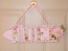 NOEL Shabby Chic Rose Door Hanger