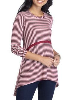 Red Camel  Striped Rib Knit Top