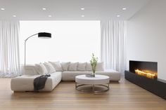 Fotobehang contemporary interior, a living room with a flat gas fireplace - tijdgenoot Contemporary Gas Fireplace, Contemporary Interior, Grey Furniture, Furniture Design, Flatscreen, Home Camera, New Home Builders, Interior Decorating, Lush