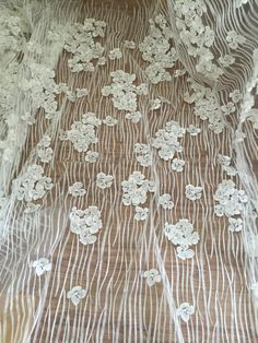 3D Ivory Lace Fabric ,Wedding lace, Embroidered lace Floral lace Luxury by the yard