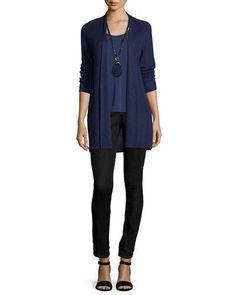 -6T2U Eileen Fisher  Sleek Ribbed Long Cardigan, Plus Size Silk Jersey Tank Top, Plus Size