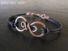 Copper Infinity Bracelet with Leather