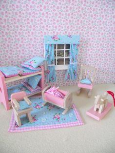 CHILDREN'S MINIATURE  DOLLS HOUSE FURNITURE SHABBY CHIC NURSERY SET NEW