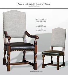 Dining Chairs Old World Parson's Collection: Linen & Leather dining chairs for Old World Interiors at Accents of Salado.