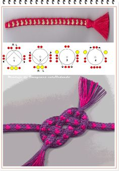 Links from a Spanish site to a Danish (I think) site for this braid with little hearts. String Crafts, Bead Crafts, Jewelry Crafts, Pony Bead Patterns, Beading Patterns, Kumihimo Bracelet, Finger Weaving, Loom Craft, 3d Quilling