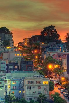 Sunset over Lombard St, San Francisco.