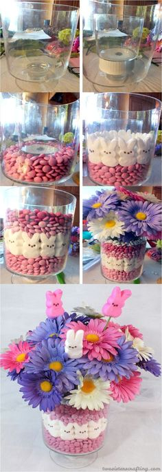 18 DIY Easter Centerpieces to Adorn Your Table - Home Decoration and Diy Easter Brunch, Easter Party, Hoppy Easter, Easter Eggs, Easter Food, Diy Valentine's Centerpieces, Easter Crafts, Holiday Crafts, Diy Osterschmuck