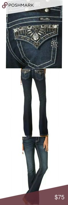 "NWT  Miss Me ""Studded Up"" Bootcut Jeans All brand new with tags attached.  Multiple sizes available.  Classic dark blue wash with some stretch.  Miss Me's Signature Lowrise and Bootcut.  Pictures can't do these jeans justice.  Beautiful beading, studs and stitch work.  34"" inseam with 7"" rise. Extra replacement beads included. Miss Me Jeans Boot Cut"