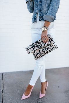 snow leopard clutch, pink louboutin's, white denim, spring style
