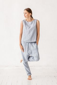 READY TO SHIP / size S / Dusty blue harem pants Linen by Linenfox