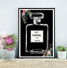 Chanel Perfume bottle Chanel Art Print Coco by inthepinkprints