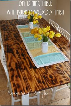 DIY Dining Table with Burned Wood Finish using a BernzOmatic blow torch. Create a shaded look for your table, super easy to do and gives it so much character! it Simple Diy Sofa Table, Diy Dining Table, Dining Room, Fire Pit Bench, Diy Fire Pit, Kallax, Torch Wood, Diy Esstisch, Diy Computer Desk