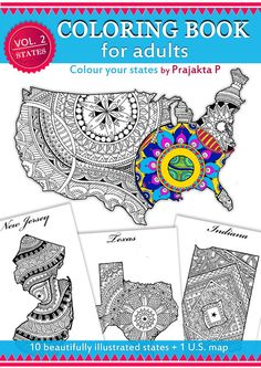 Adult coloring book, USA Travel Map, Coloring book for adults, United States Map,DIY US map coloring book, printable coloring pages, maps