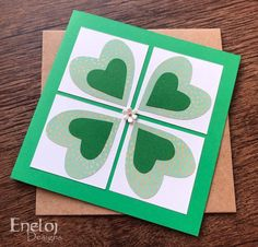 St Patrick's Day Card / Handmade Irish or Celtic Card / Blank Shamrock Greeting Card / Green 4 Leaf Clover Note Card Diy St Patricks Day Cards, St Patricks Day Crafts For Kids, St Patrick's Day Crafts, Kid Crafts, Craft Projects, Hand Made Greeting Cards, Greeting Cards Handmade, St Patrick's Day Decorations, Cards For Friends