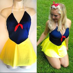 Snow White Bathing Suit // Snow White One by TheGoodWitchClothing