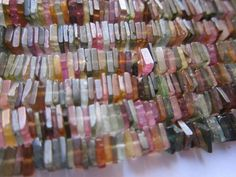 multi tourmaline square beads single strand 15 inch 4mm