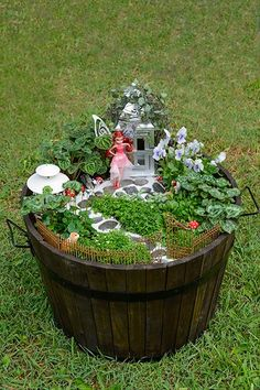 How to make a mini fairy garden: Want to introduce your kids to the magical world of plants? This adorable fairyland should do the trick! Set up in a large container, it includes all a good pixie needs – mini toadstools, a friendly squirrel, secret pathways and havens covered in lush 'vines'. Once your new fantasia is designed, add a few toy fairies until the real ones move in. --http://realresultsin3weeks.info