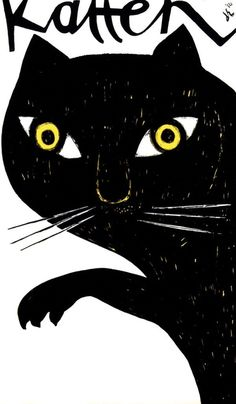Black Cat Katten by Dick Elffers, 1956 I Love Cats, Crazy Cats, Cool Cats, Poster Design, Art Design, Graphic Design Illustration, Illustration Art, Cat Illustrations, Image Chat