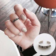 韩国韩版S925纯银饰品复古文艺小菊花花朵素银开口戒指食指指环女