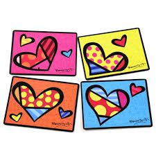 Buy Romero Britto - Cork Back Placemats: Hearts online and save! A set of 4 placemats with a funky heart design. Presented in a gift box. Romero Britto is a Brazilian born artist, often called the leading pop artis. Painting For Kids, Painting On Wood, Art For Kids, Arte Country, Valentines Art, Linen Store, Pin Art, Arte Pop, Heart Art