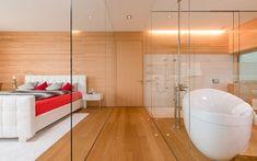 Architektenvilla mit atemberaubendem Panoramablick auf den Bodensee Villa, Modern, Bathtub, Bathroom, Sous Sol, Living Dining Rooms, Dressing Room, Storage Room, Underground Garage