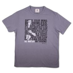 """This shirt by Tailgate Clothing features the famous Bruce Lee """"Be Water"""" quote on the front."""