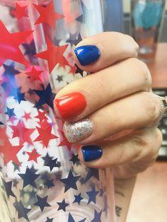 My Fourth of July inspired nails! #gelnails #fourthofjuly #shortnailsdontcare #RedWhiteAndBlue 4th Of July Nails, Fourth Of July, Gel Manicures, Bright Nails, Short Nails, Toe Nails, Pretty Nails, Nail Colors, Nail Ideas