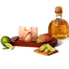 Tequila shot glasses made of Himalayan salt.