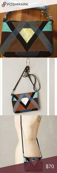 ANTHROPOLOGY Diamante Crossbody Bag Jasper+Jeera BEAUTIFUL CROSS-BODY ENVELOPE STYLE FROM ANTHROPOLOGY, NEW W WRAPPING TAGS ARE NOT ON BUT NEVER USED. THIS PRETTY BAG IS A MIXTURE OF COLOURED SUEDE & LEATHER of blues, black, tans, grey and brown Anthropologie Bags Crossbody Bags