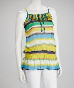 Take a look at this Yellow & Green Stripe Tank by Buy in America on #zulily today! $19.99, regular 36.00