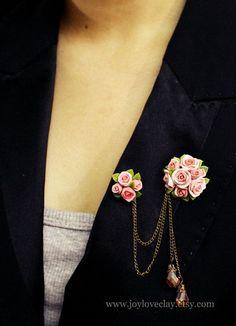 handmade rose brooch ,handmade rose , antique jewelry , polymer clay flower, handmade jewelry, rose pendant
