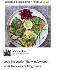 funny photo of food that looks like someone left the window open while cutting grass