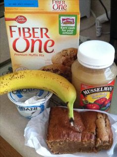 High fiber low fat Banana Bread! Mix together 1 mashed banana, 1/2 cup Greek yogurt, and 1/4 cup applesauce. Fold in muffin mix and combine (batter will lumpy!) bake in bread pan at 425 for 30 minutes untill brown! Let cool! Very moist tasty and healthy! No oil or eggs and healthy substitutes you can feel good about eating! Really yummy toasted and drizzled with natural peanut butter! Try it!