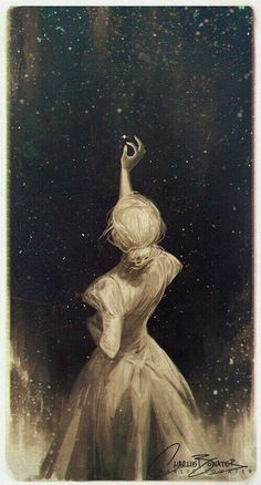 """The Old Astronomer by Charlie-Bowater on DeviantArt.""""Though my soul may set in darkness, it will rise in perfect light; I have loved the stars too fondly to be fearful of the night."""" from the poem 'The Old Astronomer' by Sarah Williams. Art And Illustration, Landscape Illustration, Art Inspo, Kunst Inspo, Anime Kunst, Art Anime, Manga Anime, Fantasy Kunst, Fantasy Art"""