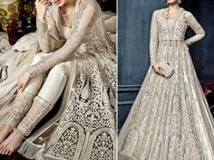Heavy Embroidered Net Bridal Maxi Dress Price in Pakistan is with Free Home Delivery ✔ Shop Womens Clothing, Womens Dresses, Ch. Pakistani Wedding Outfits, Bridal Outfits, Pakistani Dresses, Mayon Dresses, Dresses Elegant, New Party Dress, Bridal Dress Design, Different Dresses, Pakistani Dress Design