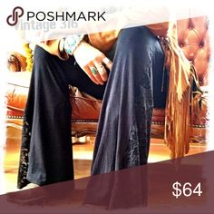Wild Girl Gypsy Pants~ Ok... if we are going to be cozy, we don't have to look like it! Glorified Yoga Pants with a Lace Bell Flare! These are Great with Cowboy Boots, Sandals & of course...bare feet! Get the Look...see Fringe jacket and lace cami in other listings, pair with your favorite rocker tee! Check availability before ordering, my items come from a retail shop. Vintage 316 Pants Wide Leg