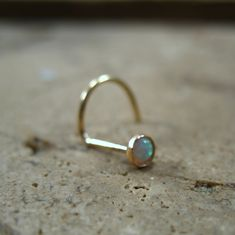 Gold White Opal Nose Screw 3mm Gold Nose Stud/Opal от MysticMoons