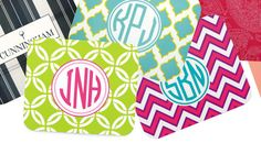 Personalized Mouse Pads – Brookshire Boutique. Perfect way to add some color to the office or home! Check out all the preppy, fun patterns. www.brookshireboutique.com! #monogram