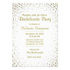 Bachelorette Party | Gold Confetti 5x7 Paper Invitation Card