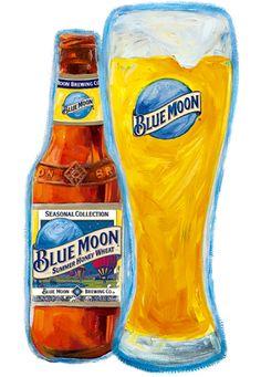Cerveja Blue Moon Summer Honey Wheat, estilo American Wheat/Rye, produzida por Blue Moon Brewing Co., Estados Unidos. 5.2% ABV de álcool.