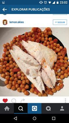grao de bico com muito tomate, peixe
