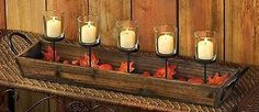 Cottage Rustic 5 Candle Cups Wood Tray Box with Handles & Foliage Candle Holder