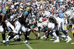 The Jacksonville Jaguars line up for a play during the first half of an NFL football game against the San Diego Chargers Sunday, Sept. 18, 2016, in San Diego. (AP Photo/Denis Poroy)