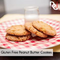 Erin's Gluten Free Peanut Butter Cookies  1 cup peanut butter ½ cup light brown sugar ½ cup sugar 1 egg ¼ tsp. salt  1 tsp. vanilla  1 tsp. baking soda  ¼ cup of sugar for rolling  Mix pb, brown sugar, and ½ cup of sugar until fluffy. Add remaining ingredients and mix until combined. Create even sized balls. Then roll the balls in the remaining sugar. Place on a sheet tray and mark them with a fork in a cross pattern. Refrigerate cookie dough for 20 mins. 350 for 12 min