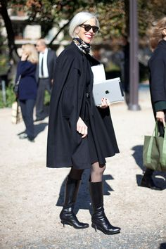 STREET STYLE SPRING 2013: PARIS FASHION WEEK - Linda Fargo makes for a put-together caped crusader.