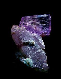 Kunzite on a fluorite and quartz matrix                                                                                                                                                                                 More