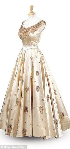 Queen Elizabeth evening gown. Made for a three-week visit to Nigeria in 1956: